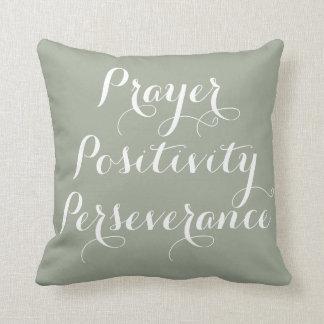 Prière, positivité, coussin de typographie de