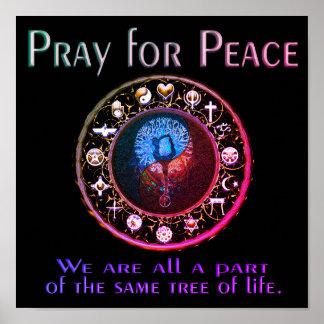 Priez pour des couleurs d'arc-en-ciel de paix posters