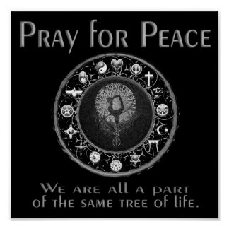Priez pour la paix en noir et blanc posters