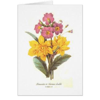Primevère et jonquilles carte de vœux