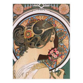 Primevère par Mucha - art floral vintage Nouveau Carte Postale