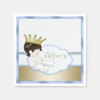 Prince baby shower de bleu et d'or serviettes jetables