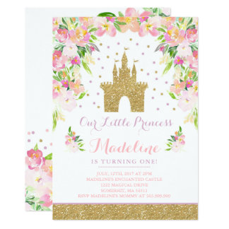 Prince Birthday Invitation Gold princesse Catle