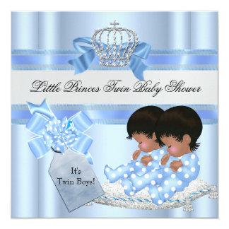 Prince bleu Crown 3 de garçons jumeaux de baby Carton D'invitation 13,33 Cm