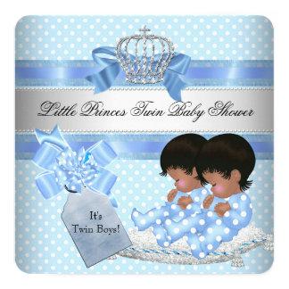 Prince bleu Crown de garçons jumeaux de baby Carton D'invitation 13,33 Cm
