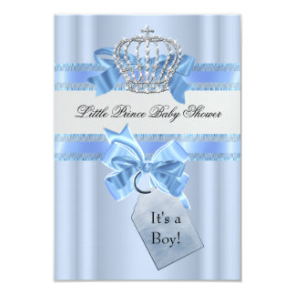 Prince bleu Crown SML de garçon de baby shower Carton D'invitation 8,89 Cm X 12,70 Cm