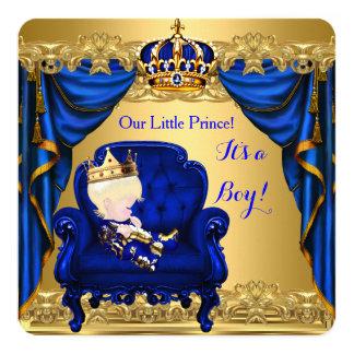 Prince bleu royal 3 d'or de garçon de baby shower carton d'invitation  13,33 cm