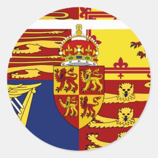 Prince de Galles, drapeau du Royaume-Uni Sticker Rond