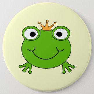 Prince de grenouille. Grenouille de sourire avec Badge