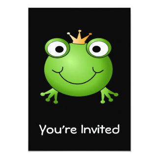Prince de grenouille. Grenouille de sourire avec Carton D'invitation 12,7 Cm X 17,78 Cm
