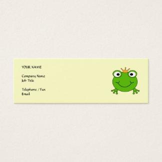 Prince de grenouille. Grenouille de sourire avec Mini Carte De Visite