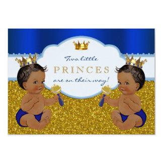 Prince jumeau baby shower d'Afro-américain Carton D'invitation 11,43 Cm X 15,87 Cm