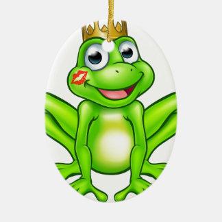 Prince Kiss de grenouille de bande dessinée Ornement Ovale En Céramique