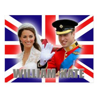 Prince William et carte postale de Catherine