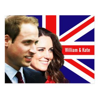 Prince William et carte postale de Kate