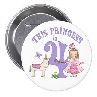 Princesse 4ème anniversaire de licorne badges