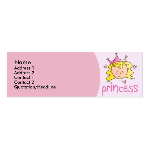 Princesse assez blonde Skinny Profile Cards Modèle De Carte De Visite