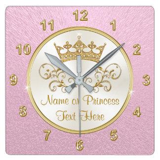 Princesse assez rose superbe Clock avec VOTRE Horloge Carrée
