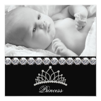 Princesse Baby Birth Announcements de diadème Carton D'invitation 13,33 Cm
