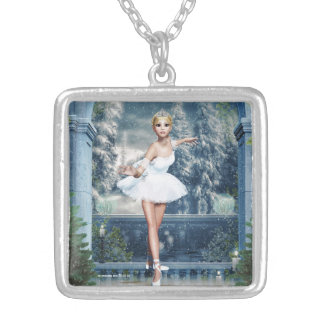 Princesse Ballerina Christmas Pendant Necklace de Pendentif Carré