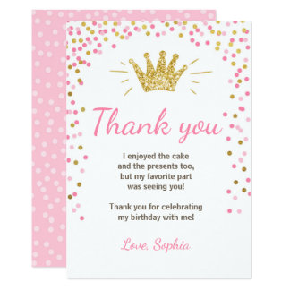 Princesse Birthday Gold Pink de carte de Carton D'invitation 12,7 Cm X 17,78 Cm