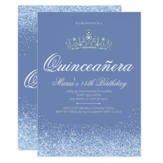 Princesse Blue Glitter Quinceanera Invitations