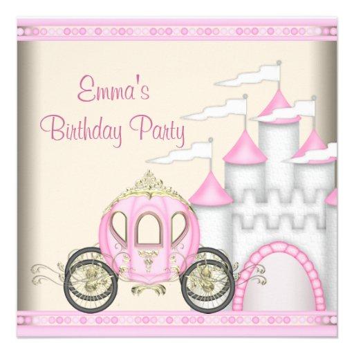 Princesse Carriage Castle Girls princesse Invitations Personnalisées