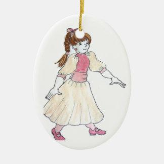 Princesse Christmas Ornament Ornement Ovale En Céramique