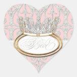 Princesse Crown, phoque de Bébé d'autocollant de Sticker Cœur