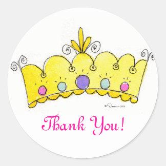 Princesse Crown Stickers - Merci Autocollant Rond