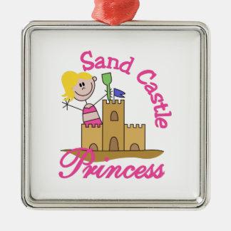 Princesse de château de sable ornement carré argenté