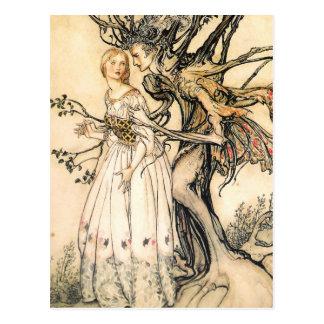 Princesse de conte de fées et carte postale d'Elf