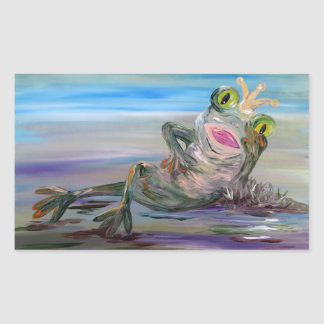 Princesse de grenouille sticker rectangulaire
