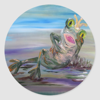 Princesse de grenouille sticker rond