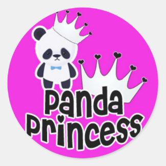 Princesse de panda sur le rose sticker rond