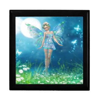 Princesse de papillon grande boîte à bijoux carrée