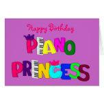 Princesse de piano de joyeux anniversaire cartes