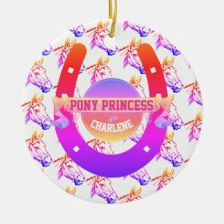 Princesse de poney ornement rond en céramique