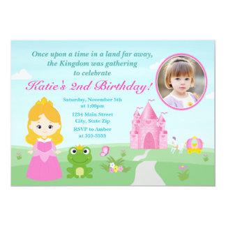 Princesse et la blonde d'invitation d'anniversaire carton d'invitation  12,7 cm x 17,78 cm