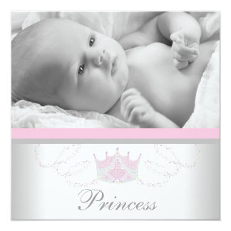 Princesse grise rose Birth Announcements de filles Carton D'invitation 13,33 Cm