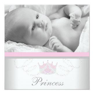 Princesse grise rose Birth Announcements de filles Carton D'invitation 13,33 Cm