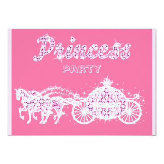 Princesse Horses et fête d'anniversaire de chariot Carton D'invitation 11,43 Cm X 15,87 Cm
