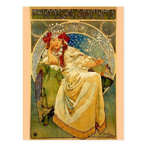Princesse Hyacinth par Mucha Cartes Postales
