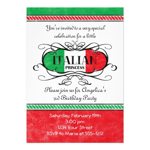 Princesse italienne Party Invitation