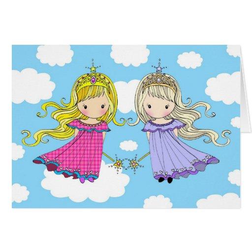 Princesse jumelle de fée de carte d'anniversaire d