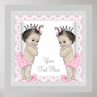 Princesse jumelle vintage rose de bébé poster