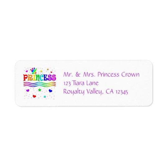 Princesse mignonne Tiara d'arc-en-ciel de clipart Étiquette D'adresse Retour