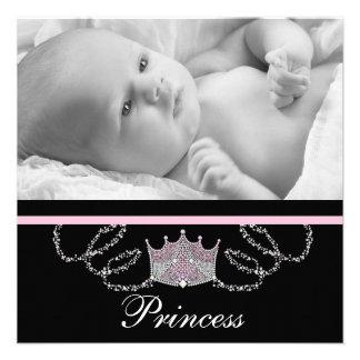 Princesse noire rose Birth Announcements de filles Invitations Personnalisées