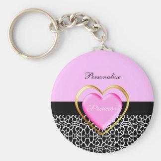 Princesse noire rose Girly Giraffe Print et nom Porte-clés