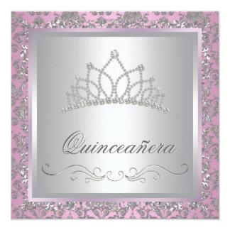 Princesse Party de rose de diadème de diamant Carton D'invitation 13,33 Cm